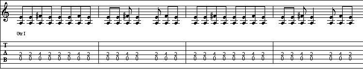 Blues shuffle in A Tab 1